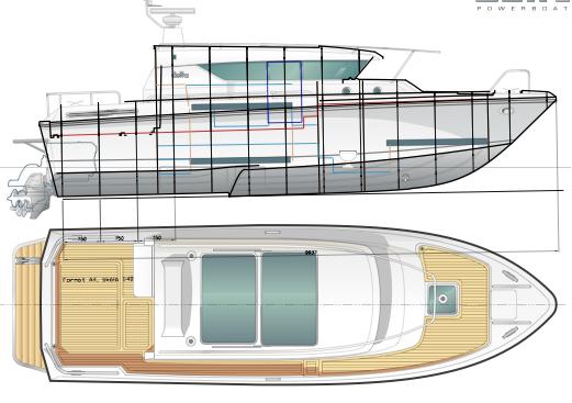 Wireframe e modello tridimensionale di uno yacht sviluppato con Rhinoceros 3D.