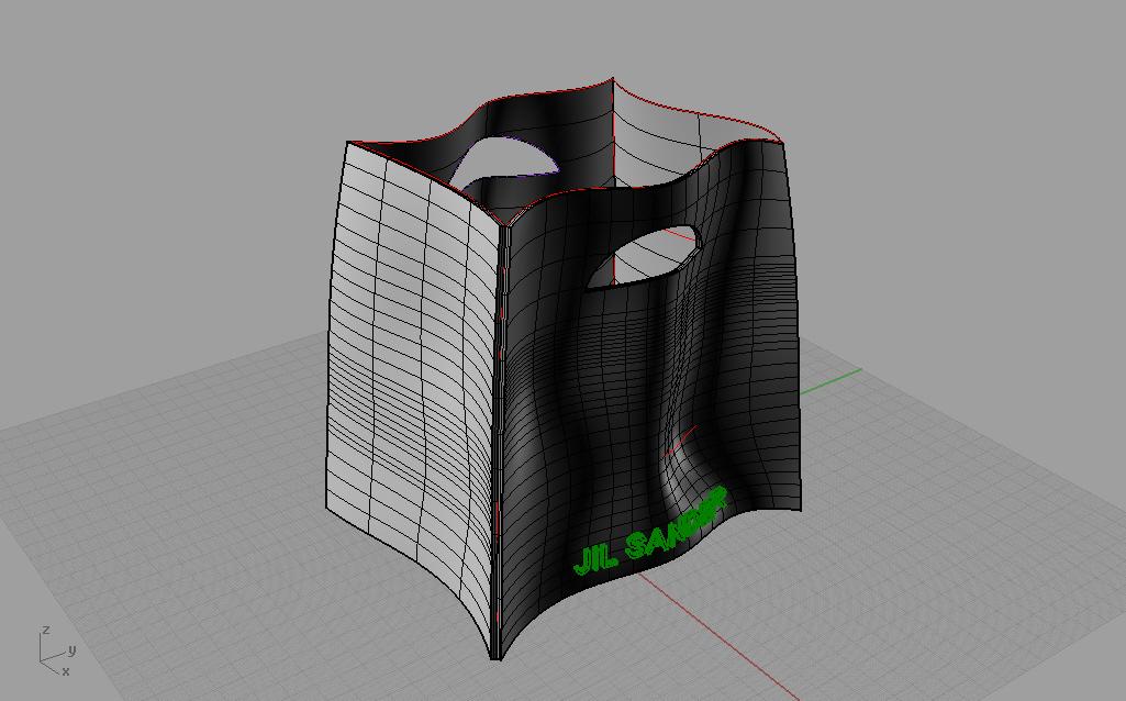 Lo schema strutturale di un sacchetto costruito con Rhinoceros 3D.
