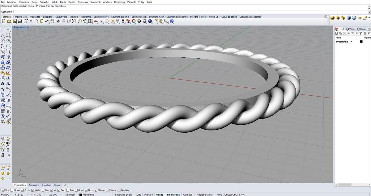 Un anello con intreccio sviluppato al corso Rhinoceros 3D a Como