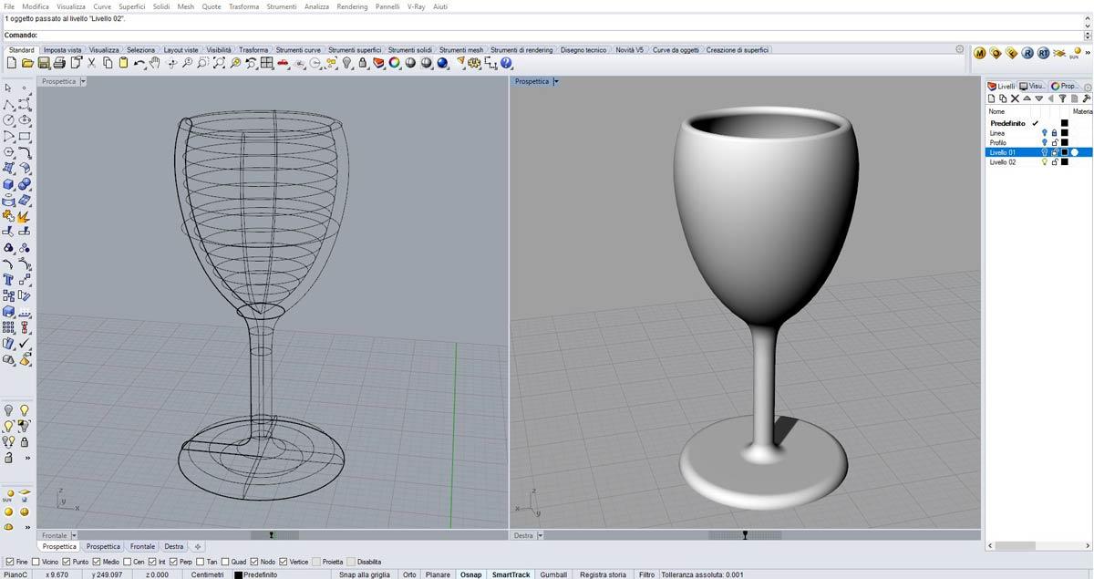 Un bicchiere modellato tridimensionalmente con Rhinoceros al corso FormadHoc.