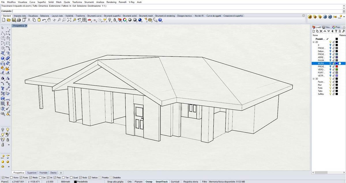 Corso di Rhinoceros 3D offerto da FormadHoc a Como: wireframe di una casa