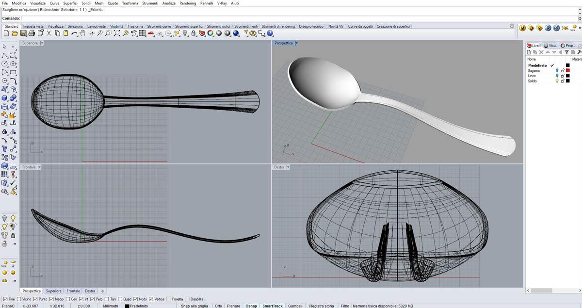 Modellazione tridimensionale di un cucchiaio con Rhinoceros 3D a Como.