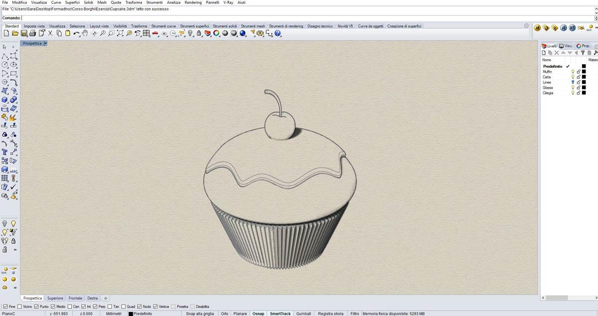 Corso FormadHoc di Rhinoceros 3D a Como: il cupcake.