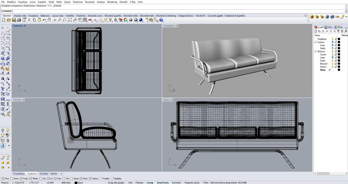 I complementi d'arredo vengono plasmati con Rhinoceros 3D, al corso di Como.