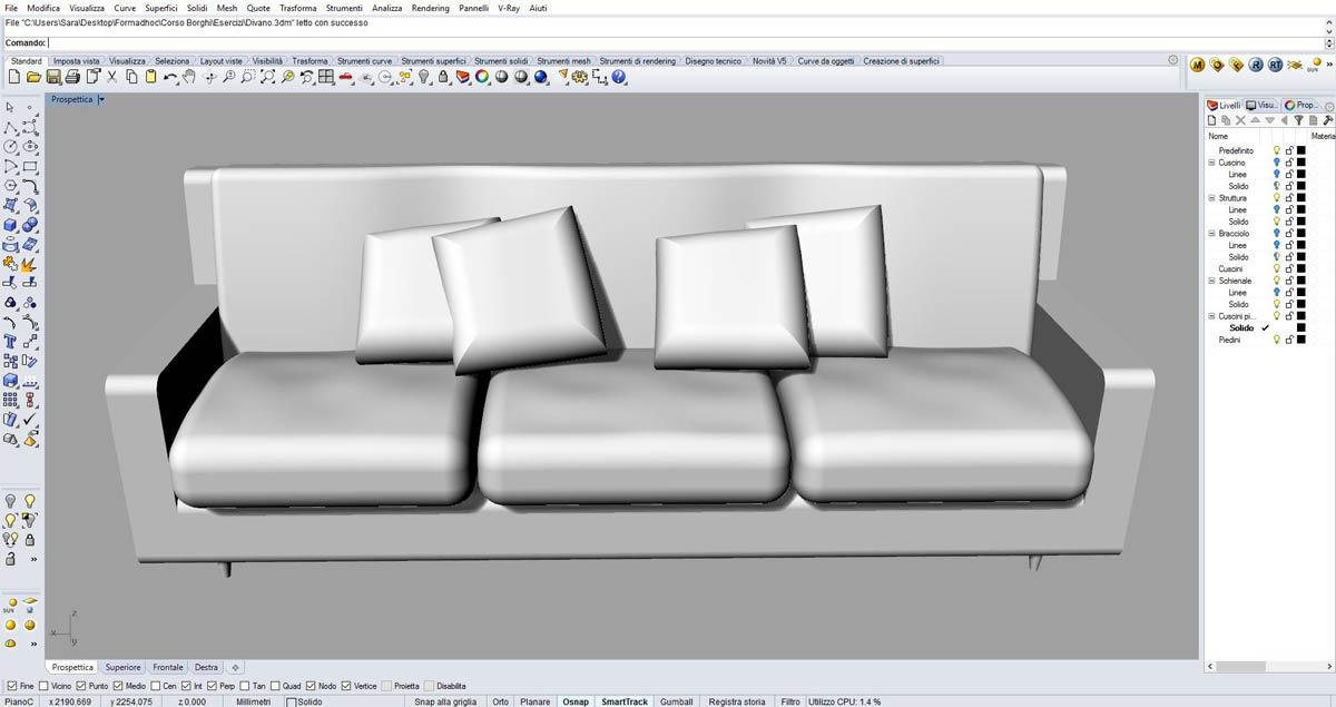 Rhinoceros 3D è impiegato per il rendering di divani e complementi d'arredo.