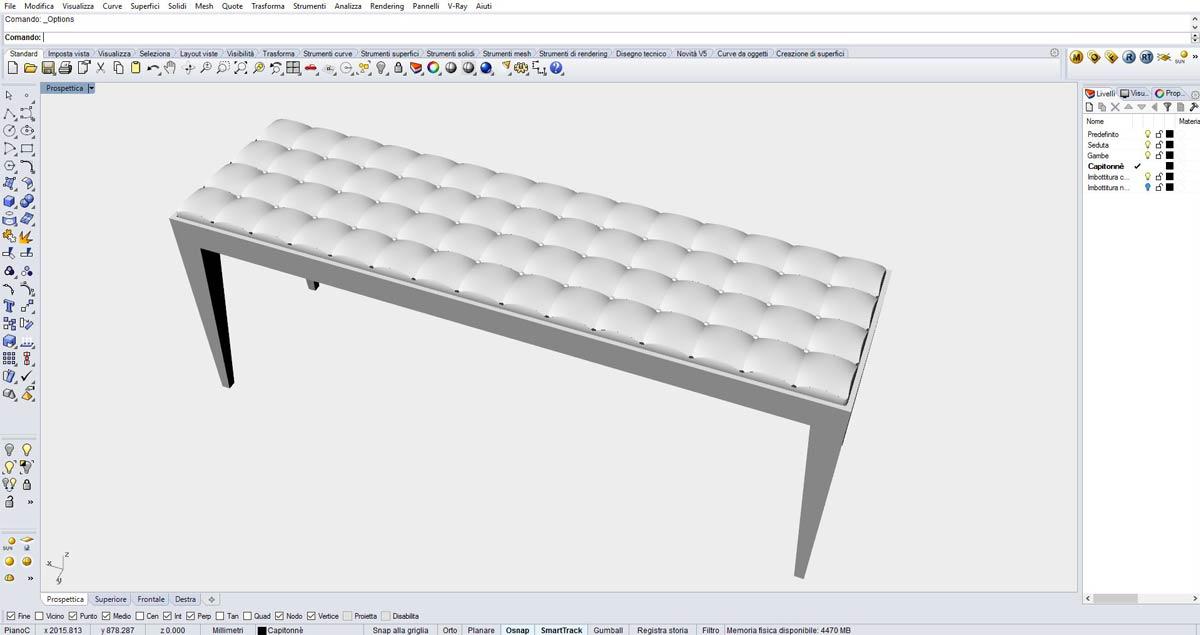 Rendering di panca costruito con Rhinoceros 3D al corso FormadHoc di Como