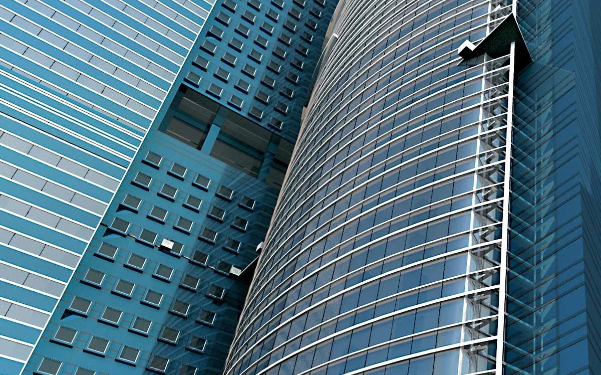 Un esempio di grattacielo creato ai corsi di AutoCAD 3D.