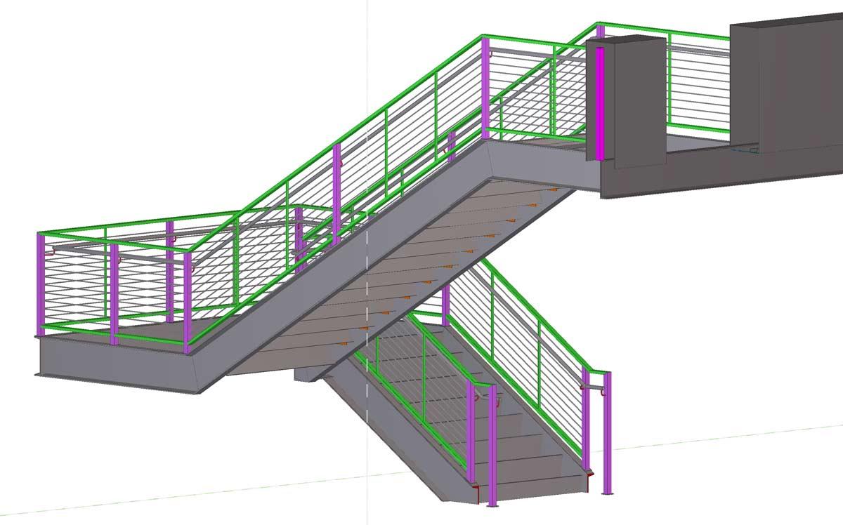 Un esempio di scala a 2 rampe creata ai corsi di AutoCAD 3D.