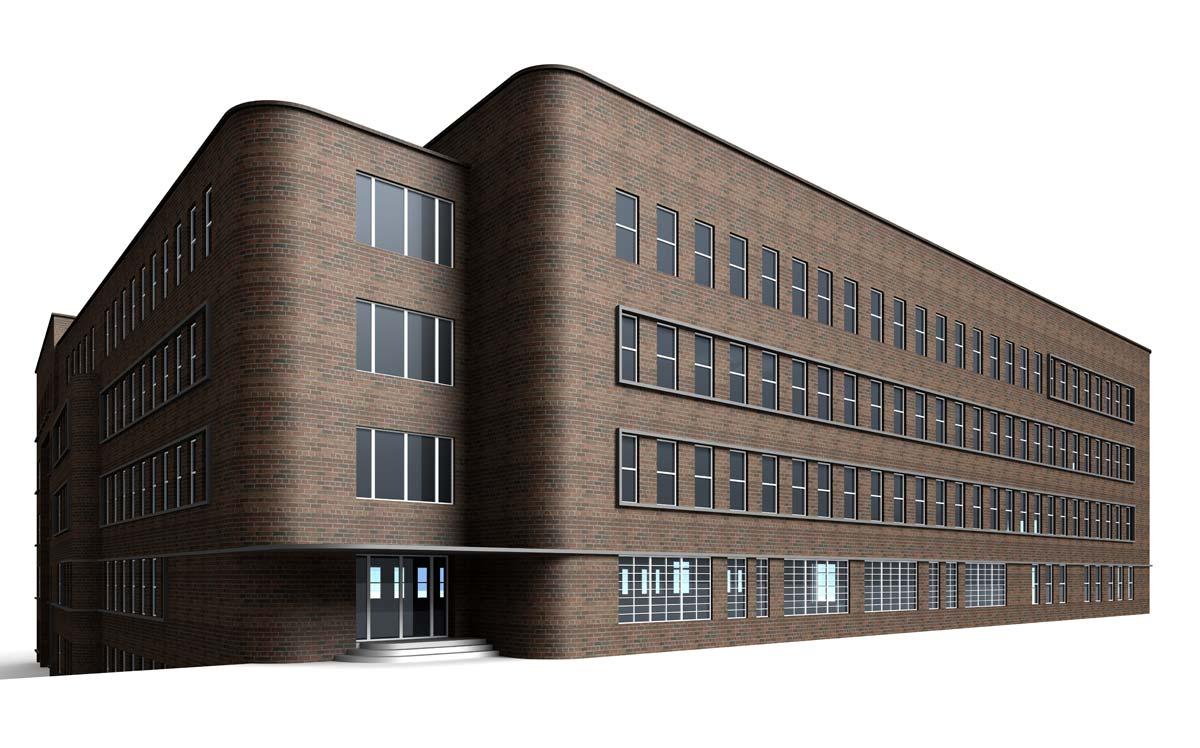 Realizzazione di complesso per uffici in mattone a vista, realizzato al corso FormadHoc di Autodesk Revit.