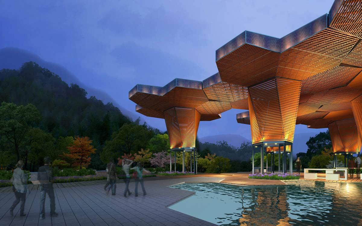 Esempio di parco tematico realizzato con Cinema 4D Studio.