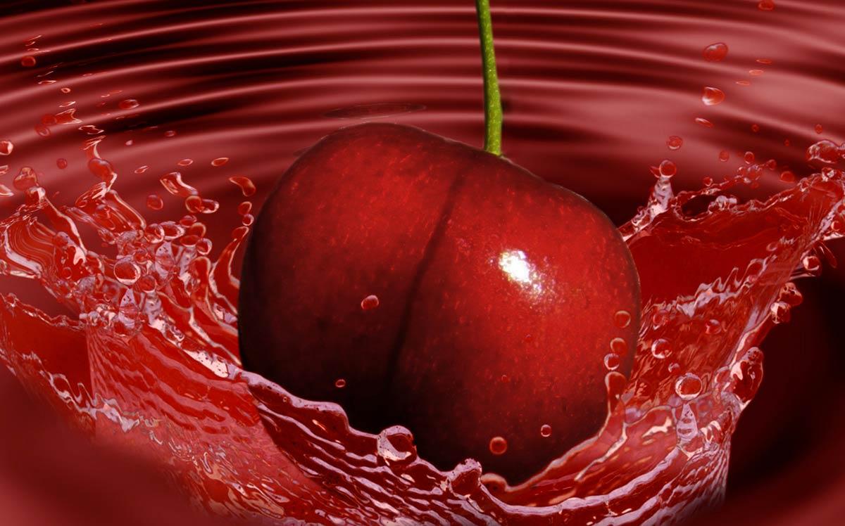 Esempio di fotoritocco di ciliegia ai corsi di PC Grafica.