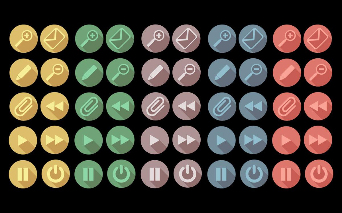 Esempio di icone vettoriali ai corsi di PC Grafica.