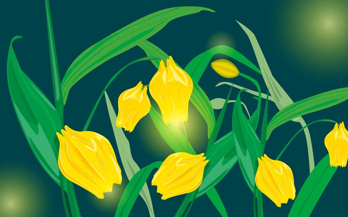 Esempio di fiori in formato vettoriale al corso FormadHoc di Illustrator.