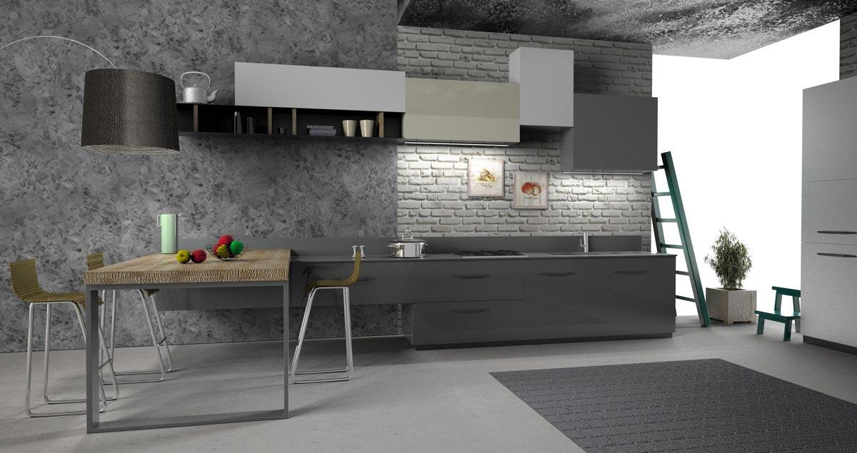 Corso di Rhinoceros 3D e V-Ray: rendering di cucina moderna.