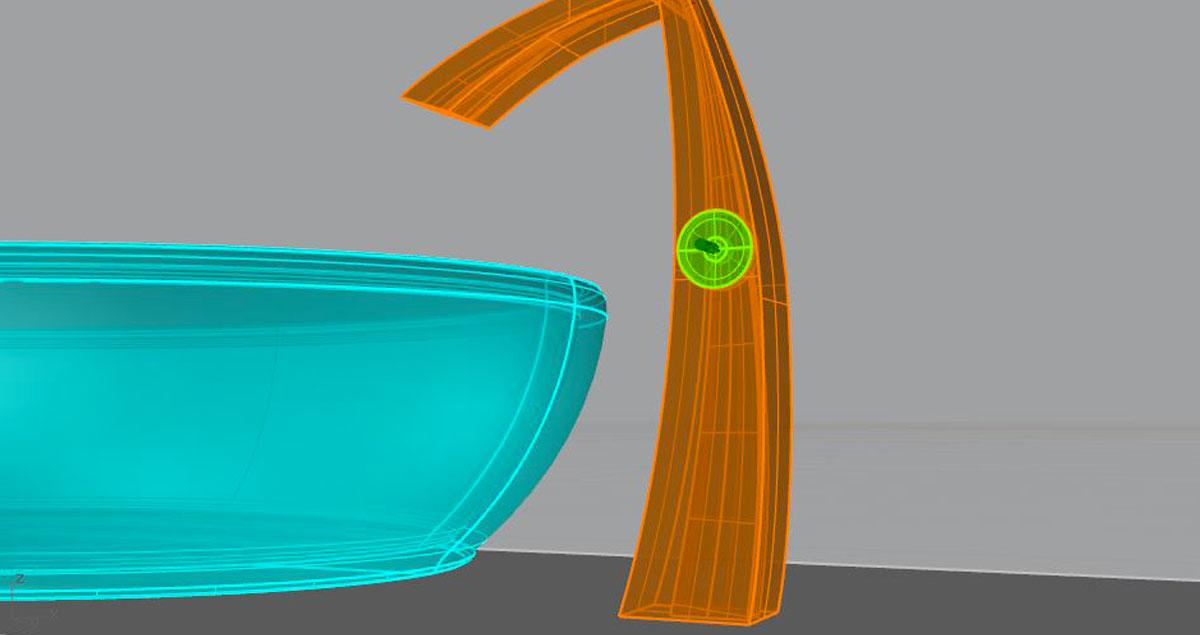 Product rendering di rubinetto per cucina con lavabo al corso di Rhinoceros 3D e V-Ray a Como.