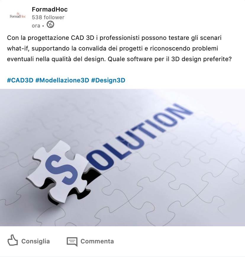 Linkedin post: la progettazione CAD 3D e i software.