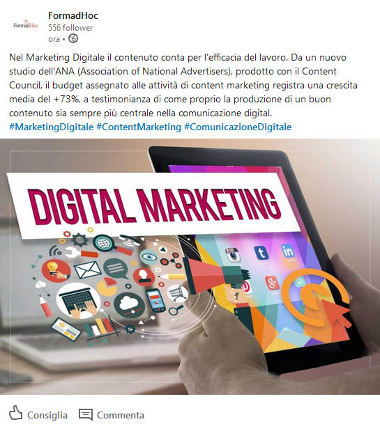 Linkedin: content marketing post.
