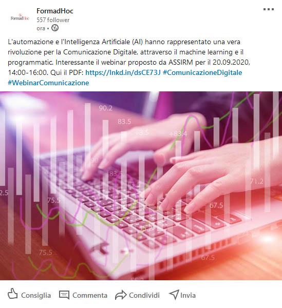 Post Linkedin: il webinar ASSIRM.