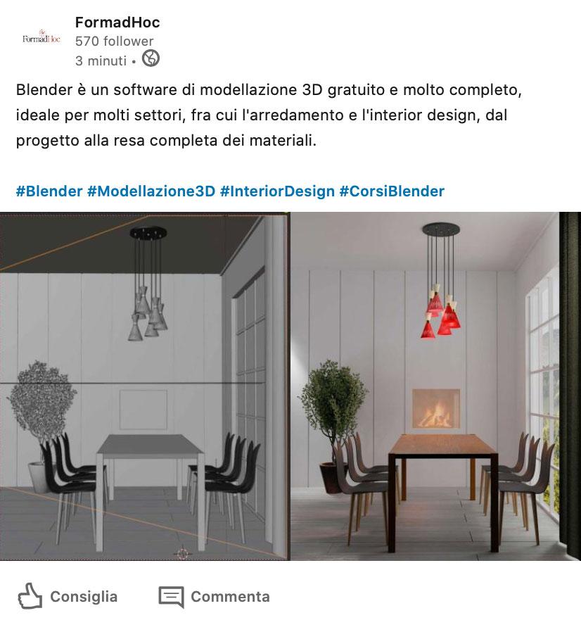 Post Linkedin su Blender.