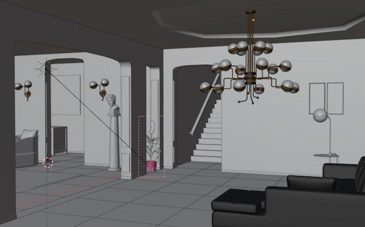 Il corso di Blender organizzato da FormadHoc: la hall di un hotel.