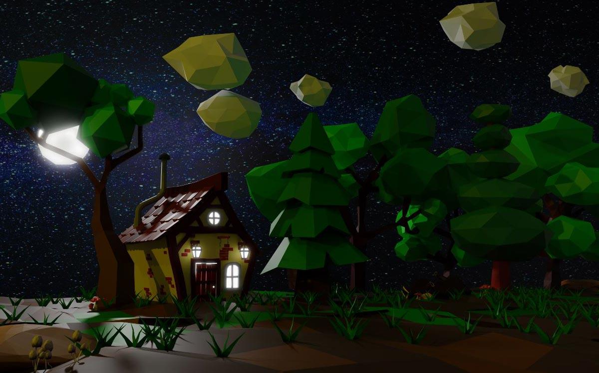 Il corso di Blender: rendering Low Poly di foresta con casa in notturna.