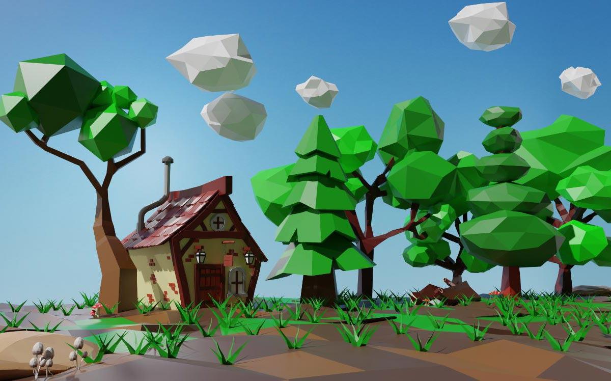 Il corso di Blender: rendering Low Poly di foresta con casa.