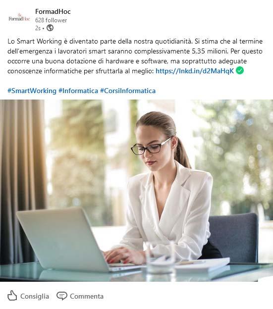 Linkedin post: smart working.