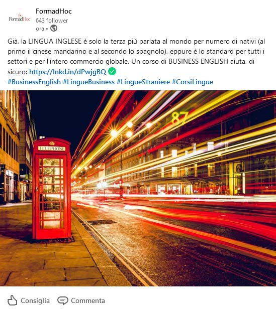 Linkedin post: Lingua Inglese e Lingue Business