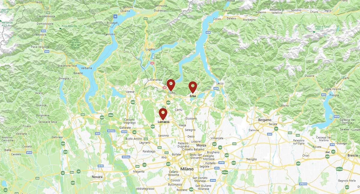 Mappa delle sedi FormadHoc a Como, Erba, Lomazzo.