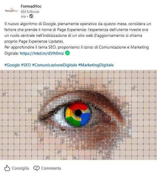 Post Linkedin: Google SEO 2021.