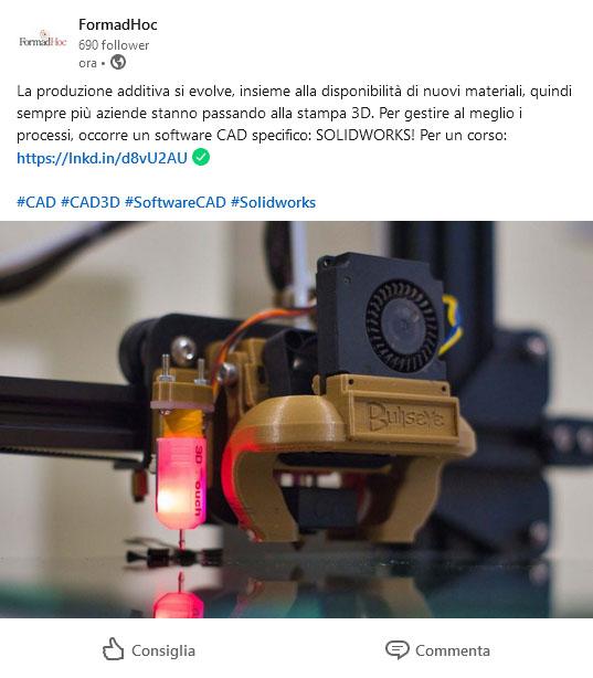 Post Linkedin: la stampa 3D con Solidworks.
